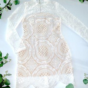 Dresses & Skirts - A. Byer dress lace long-sleeve nude & white